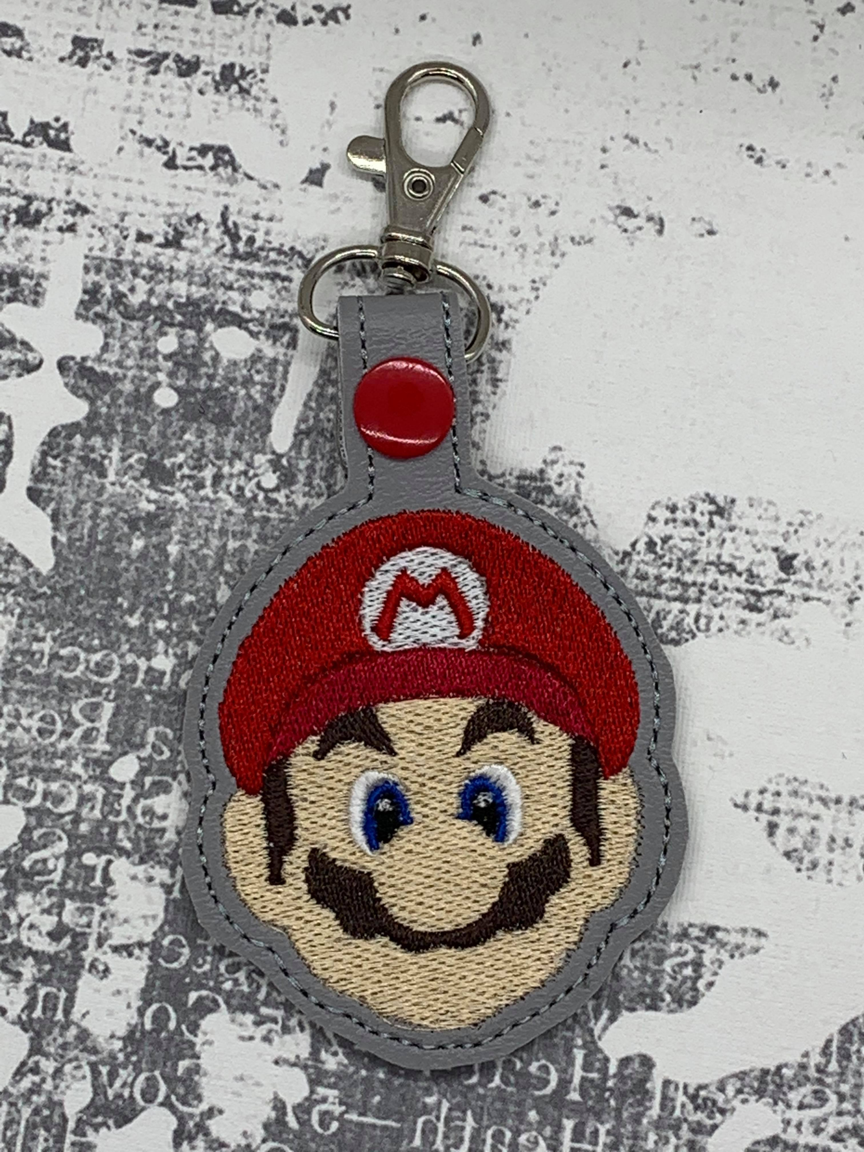 Mario Face Snaptab / Keyfob Embroidery Design