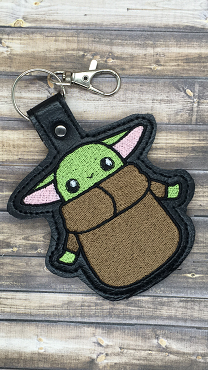 Green Baby with Hands Out Snaptab / Keyfob Embroidery Design