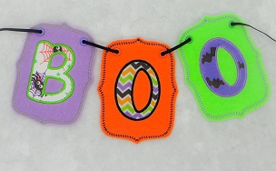 BOO BANNER Embroidery Design