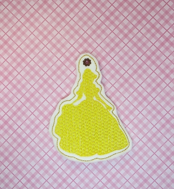 Beauty Princess Silhouette Sketchy Ornament Embroidery Design