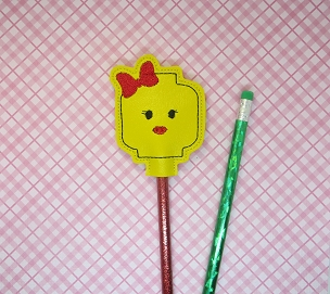 Block Girl Pencil Topper Embroidery Design