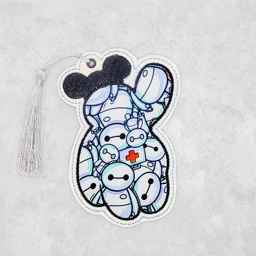 White Robot Satin Stitch Bookmark Embroidery Design