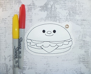 Smiling Hamburger Coloring Bookmark Embroidery Design