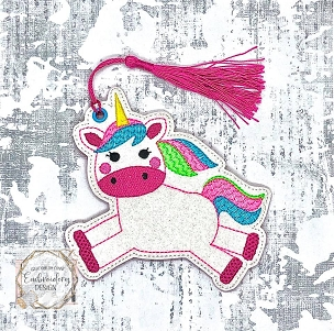 Unicorn Jumping Bookmark Embroidery Design