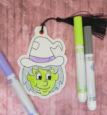 Hillbilly Witch Face Coloring Bookmark Embroidery Design