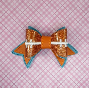 Football Team Colors Hair Bow Embroidery Design