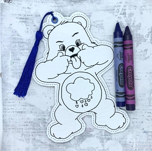 Grumpy Bear Coloring Bookmark Embroidery Design (4x4)