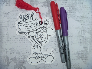 Mr Mouse Birthday Coloring Bookmark Embroidery Design