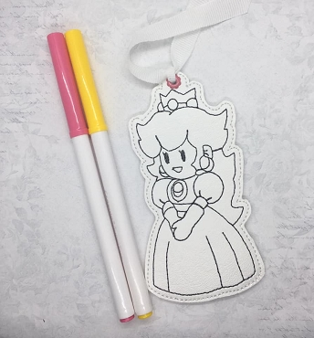 Princess Peach Coloring Book Mark Embroidery Design