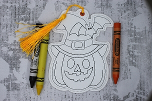 Pumpkin & Bat Coloring Bookmark Embroidery Design