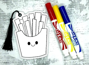 Smiling French Fries Coloring Bookmark Embroidery Design
