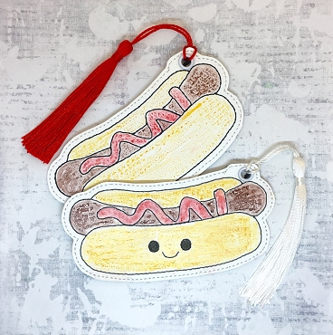 Smiling Hot Dog Coloring Bookmark Embroidery Design