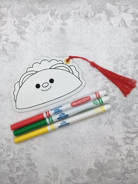 Smiling Taco Coloring Bookmark Embroidery Design