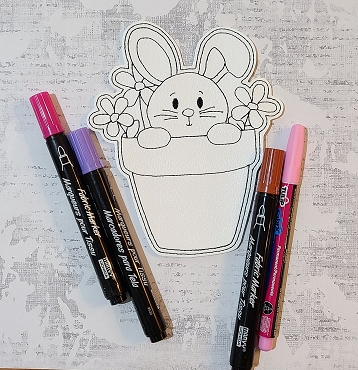 Bunny in Pot Coloring Doll Embroidery Design