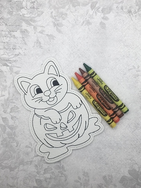 Cat in Pumpkin Coloring Doll Embroidery Design