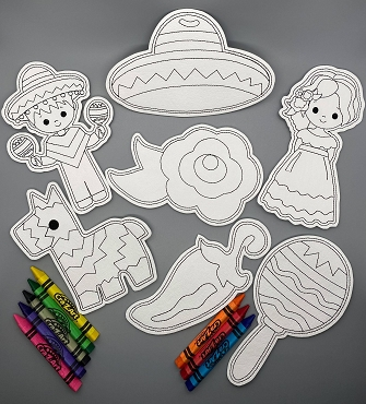 Cinco De Mayo Coloring Doll Set Embroidery Design (5X7)