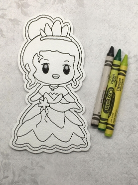 Frog Princess Coloring Doll Embroidery Design