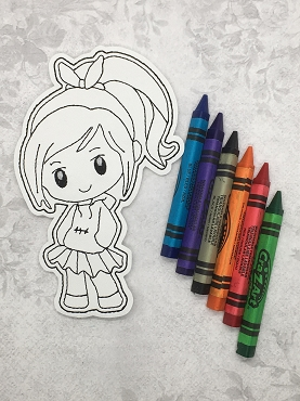 Glitch Princess Coloring Doll Embroidery Design
