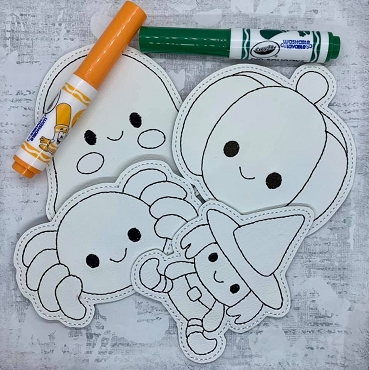 Halloween set 2 Coloring Dolls Embroidery Design (set of 4, 5x7)