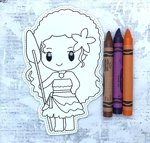 Hawaiian Princess Coloring Doll Embroidery Design