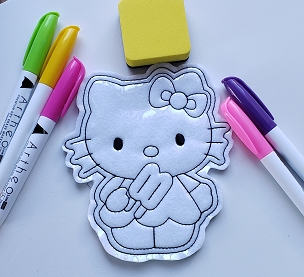 White Kitty with Popcycle Coloring Doll Embroidery Design