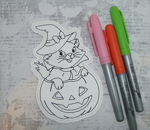 Marie in Pumpkin Coloring Doll Embroidery Design