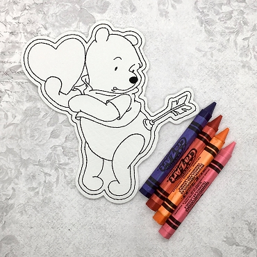Honey Bear with Heart Coloring Doll Embroidery Design