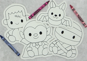 Halloween Set 1 Coloring Dolls Embroidery Design (set of 4, 5x7)