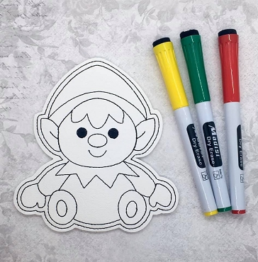 Sitting Elf Coloring Doll Embroidery Design
