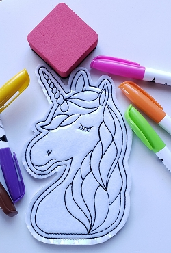 Unicorn Face Coloring Doll Embroidery Design