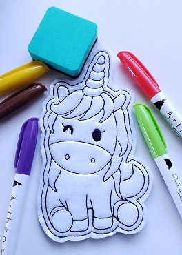 Unicorn Sitting Coloring Doll Embroidery Design