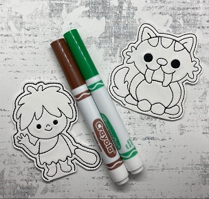 Cave Friends Coloring Finger Puppets Embroidery Design