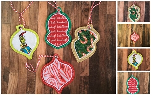 Christmas Ornaments Embroidery Designs (Set of 4)