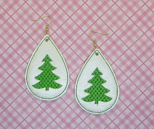 Christmas Tree Earrings Embroidery Design