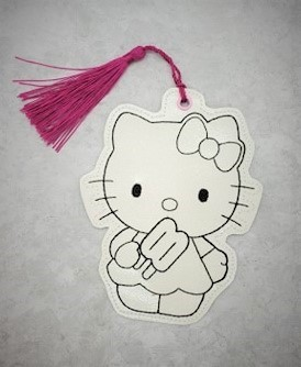 Hello Kitty Popsicle Coloring Bookmark / Ornament Embroidery Design