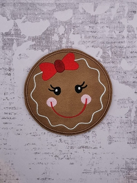 Gingerbread Kids Ornament  / Coaster Embroidery Design (set of 2)