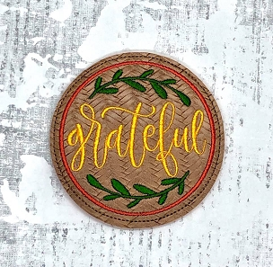 Grateful & Home Coasters Embroidery Design (set of 2)