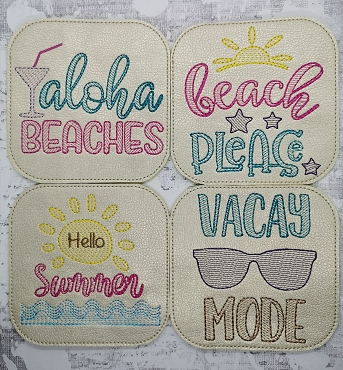 Beach Quote Coasters Embroidery Design (set of 4)