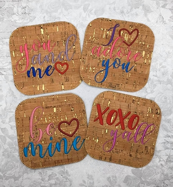 Valentine Coasters Embroidery Design (set of 4)