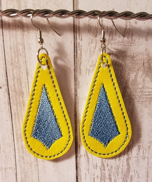 Drop Earrings 2 Color Embroidery Design