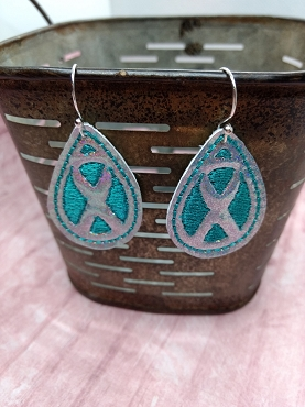 Awareness Ribbon Earrings Embroidery Design (2 sizes)