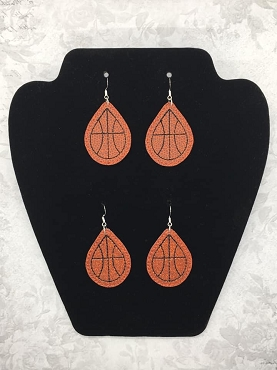 Basketball Earrings Embroidery Design