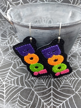 BOO Earrings Embroidery Design
