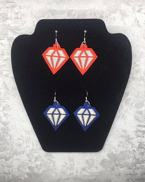 Diamond Earrings Embroidery Design
