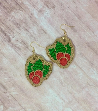 Holly Berry Earrings Embroidery Design (1.5 in size)