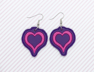 Satin Heart Earrings Embroidery Design