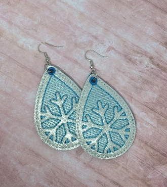 Sketchy Snowflake Earrings Embroidery Design