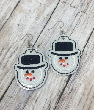 Snowman Face Earrings Embroidery Design (1.5 inches)