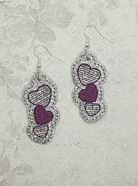 Stacked Heart Earrings Embroidery Design