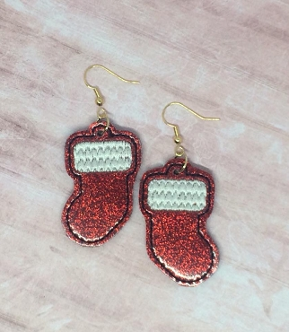 Stocking Earrings Embroidery Design (1.5 inch size)